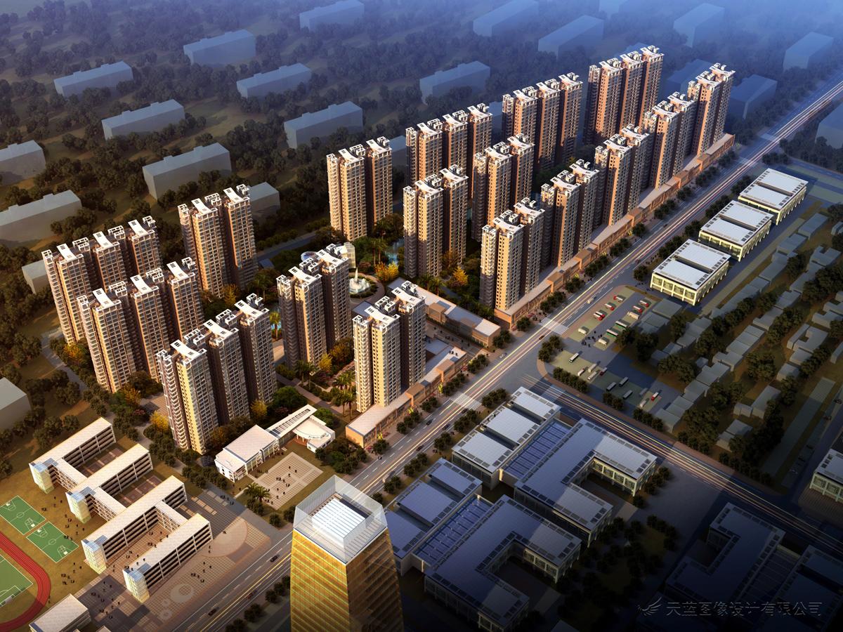 小区规划-建筑效果图制作-武汉天蓝宏图数字科技有限