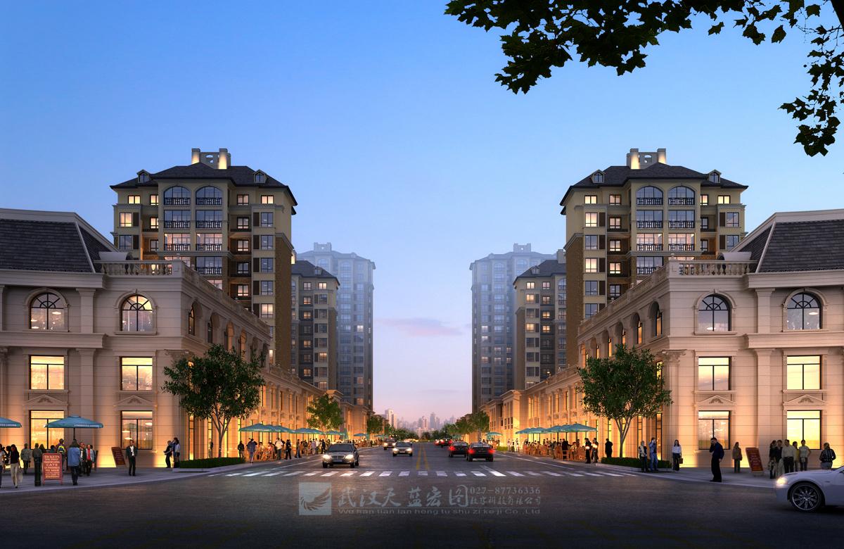 三层仿古商业内街群集-建筑效果图制作-武汉天蓝宏图