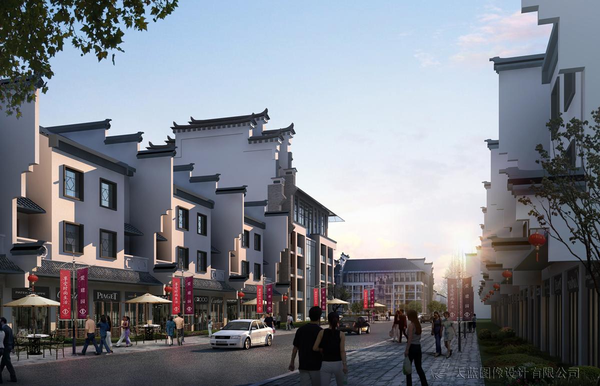 中式商铺及住宅-建筑效果图制作-武汉天蓝宏图数字
